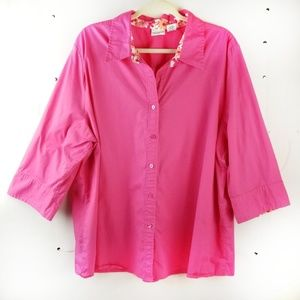 Kim Rogers Plus 3/4 Roll Tab Sleeve Blouse 3X Pink